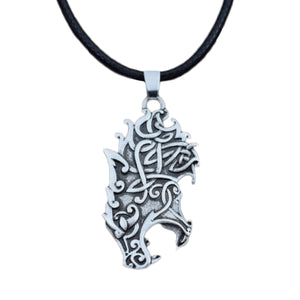 GUNGNEER Celtic Irish Knot Wolf Head Stainless Steel Pendant Necklace Jewelry Men Women