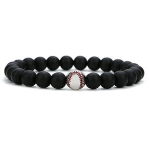 GUNGNEER Trendy Baseball Bead Bracelet Stone Sports Jewelry Accessory For Men Women