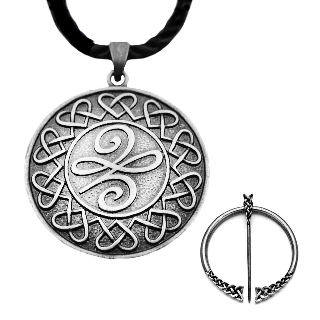 GUNGNEER Celtic Irish Trinity Knot Pendant Necklace Infinity Hair Pin Jewelry Set Leather Chain