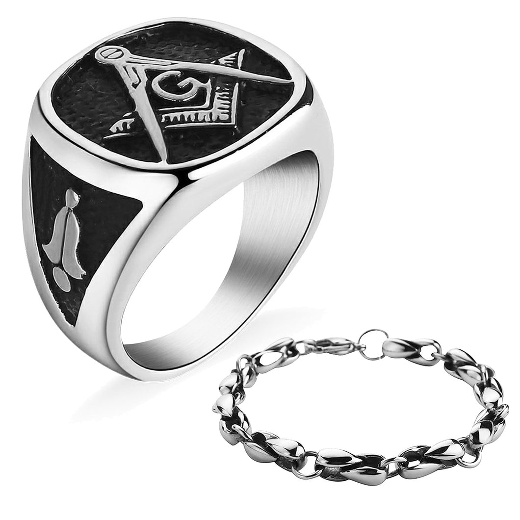GUNGNEER Stainless Steel Freemason Masonic Signet Ring Silvertone Chain Bracelet Jewelry Set Men