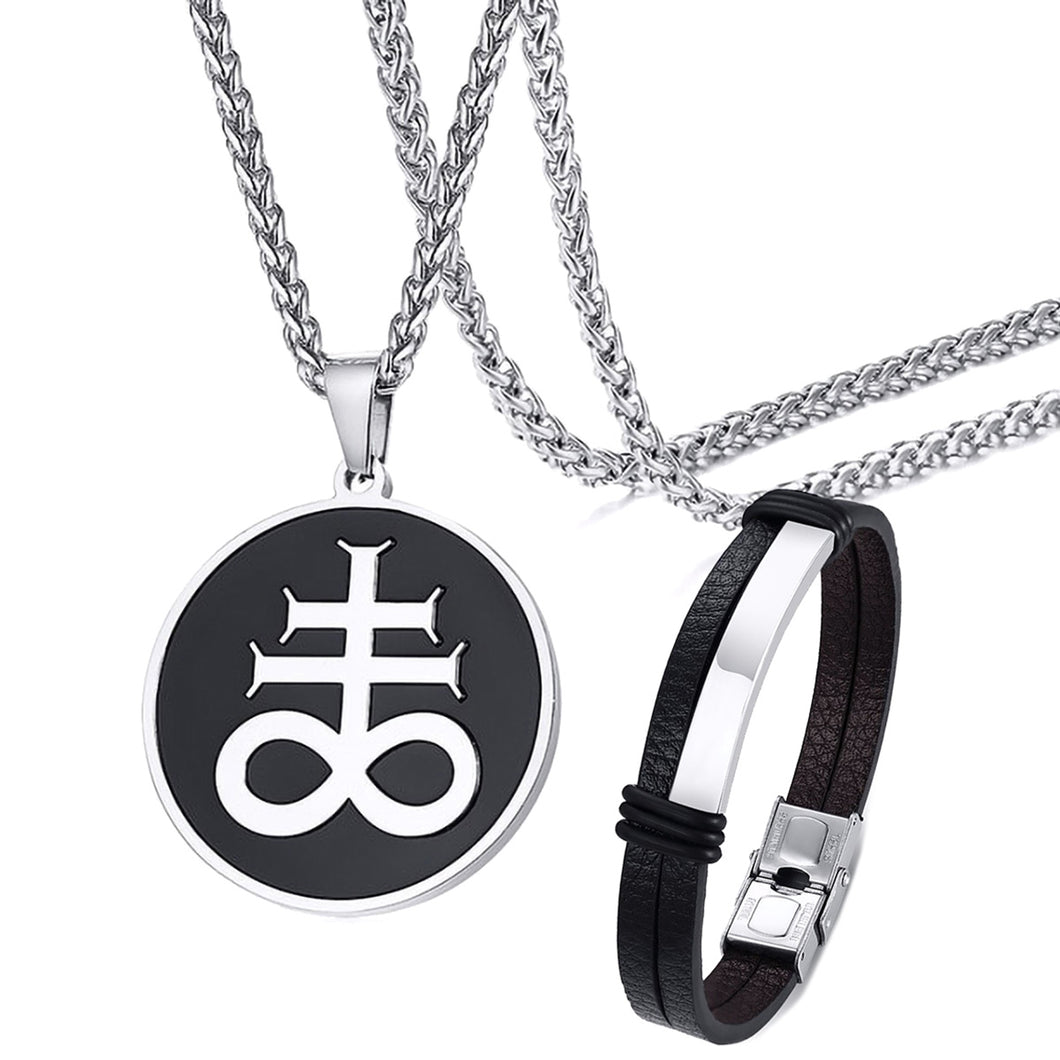 GUNGNEER Stainless Steel Satan Cross Necklace Leather Chain Bracelet Jewelry Set