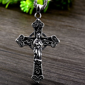 GUNGNEER Silvertone Stainless Steel Virgin Mary Christian Cross Pendant Necklace Jewelry