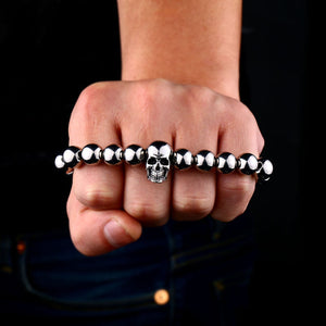 GUNGNEER Stainless Steel Silvertone Skull Ring Beaded Bracelet Skeleton Jewelry Set Men Women