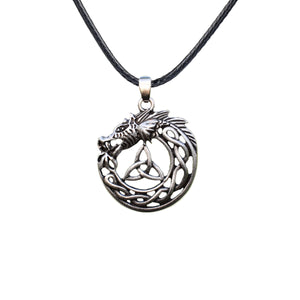 GUNGNEER Irish Celtic Viking Dragon Trinity Knot Pendant Necklace Stainless Steel Jewelry Gift