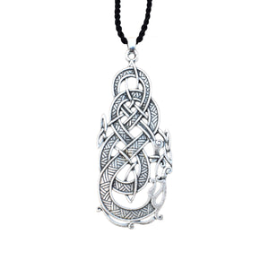 GUNGNEER Irish Celtic Knot Dragon Pendant Necklace Stainless Steel Jewelry Men Women