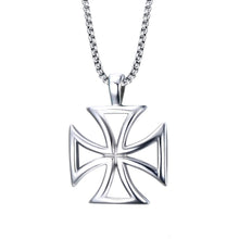 Load image into Gallery viewer, GUNGNEER Stainless Steel Templar Knights Cross Hollow Pendant Necklace with Rope Bracelet Set