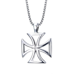 GUNGNEER Stainless Steel Templar Knights Cross Hollow Pendant Necklace with Rope Bracelet Set