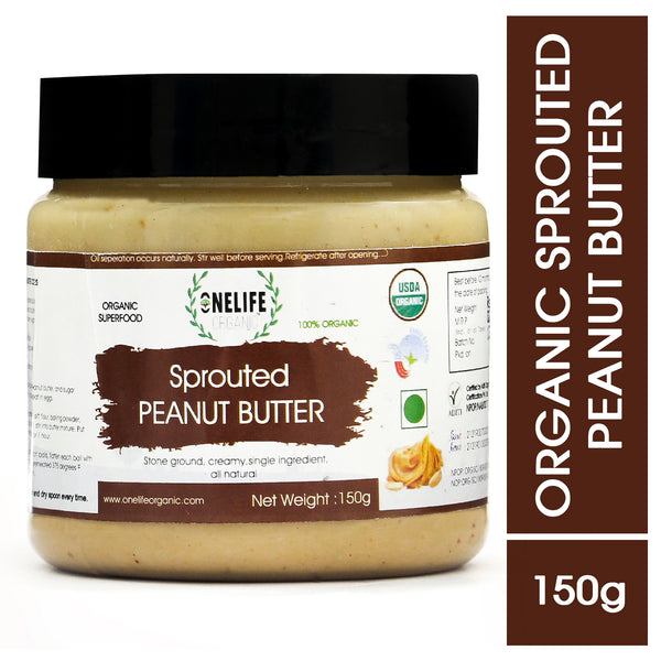 Organic Sprouted Peanut Butter - Creamy, Stone Ground- 150g -  Vegan, Gluten Free, No Added Salt or Sugar, Keto friendly - Onelife Organic