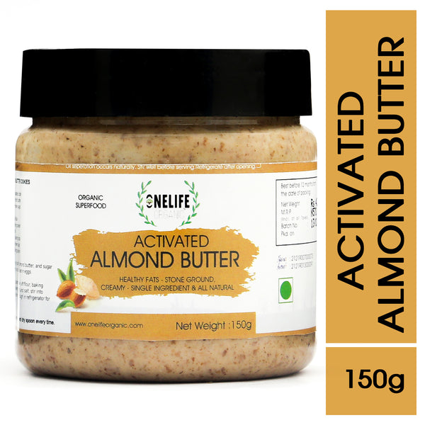 Activated Almond Butter - Creamy, Stone Ground, All Natural - 150g - Vegan, Gluten Free, No Added Salt or Sugar, Keto friendly - Onelife Organic