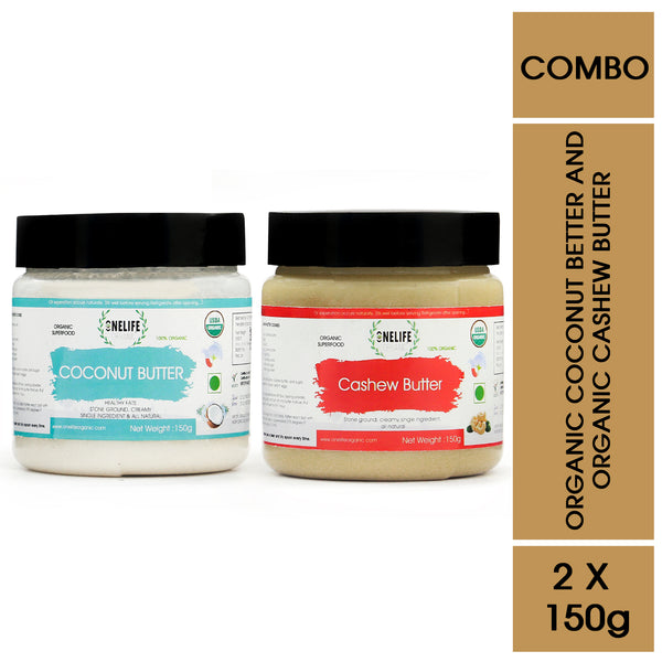 Organic Coconut and Cashew Butter Combo Pack - 150 gms Each - Vegan, Gluten Free, No Added Salt or Sugar, Keto friendly - Onelife Organic