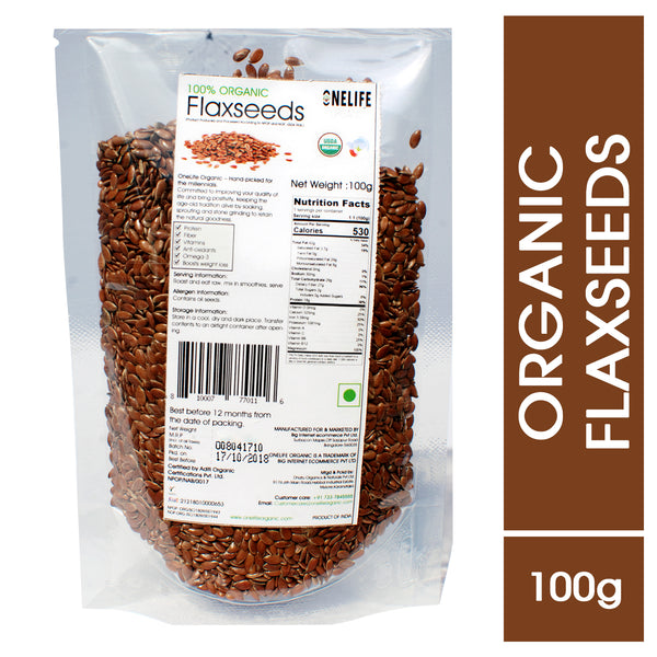 Organic Flax Seeds - Unroasted - All Natural, No Pesticides and Chemicals - 100g - Onelife Organic