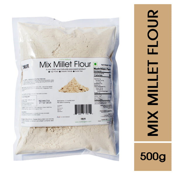 Mix Millet Flour - 100% Natural - Diabetic Friendly & Gluten Free- 500g - Onelife Organic