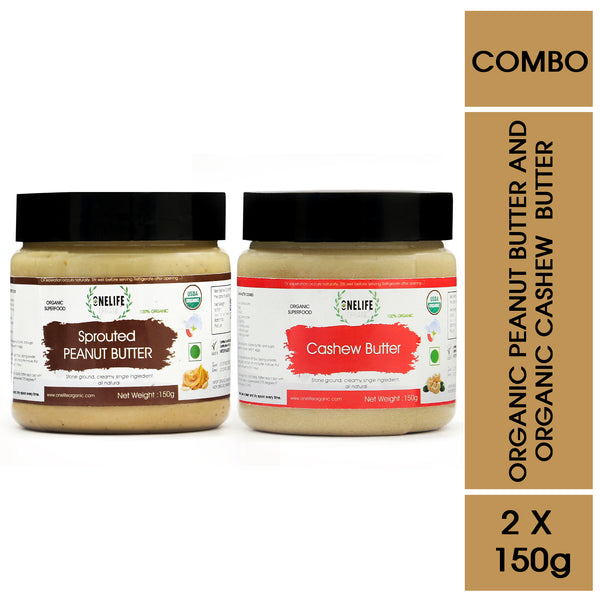 Organic Sprouted Peanut Butter and Cashew Nut Butter Combo Pack - 150 gms Each - Vegan, Gluten Free, No Added Salt or Sugar, Keto friendly - Onelife Organic