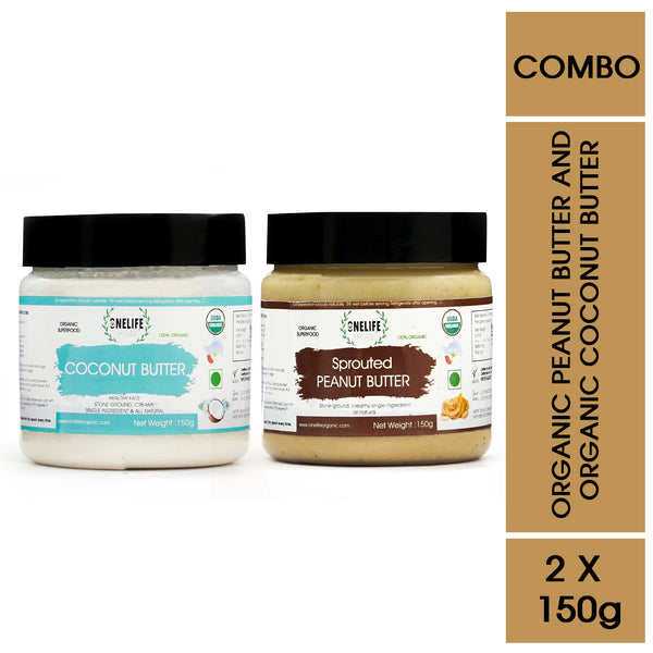 Organic Sprouted Peanut Butter and Coconut Butter Combo Pack - 150 gms Each - Vegan, Gluten Free, No Added Salt or Sugar, Keto friendly - Onelife Organic