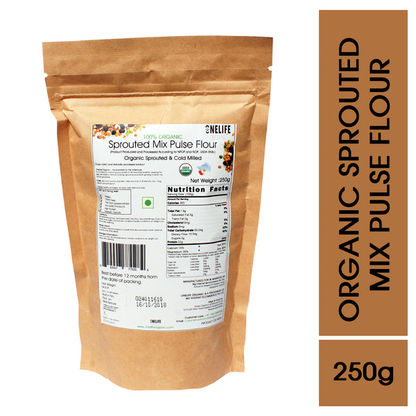 Organic Sprouted Mix Pulse Flour - Diabetic Friendly & Gluten Free- 250g - Onelife Organic