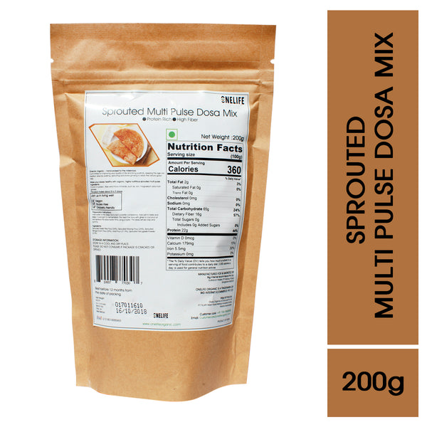 Organic Sprouted Multi Pulse Dosa Mix - High Protein & Fiber- 200g - Onelife Organic