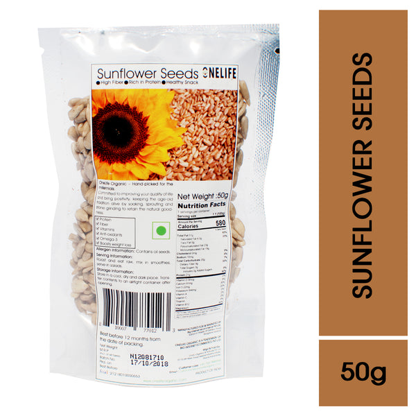 Raw Sunflower Seeds (Without Husk), All Natural, No Pesticides and Chemicals - 50g - Onelife Organic