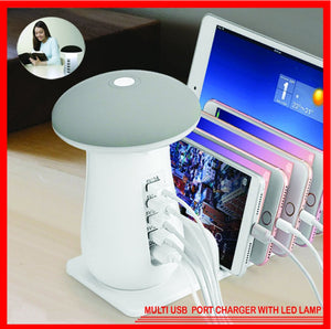 Multi USB Port Charger with LED Lamp