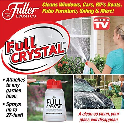 Full Crystal Outdoor Glass Cleaner Bottle Garden Window Handheld Spray Mighty Cleaning Tool Brush with Optional Powder Refill