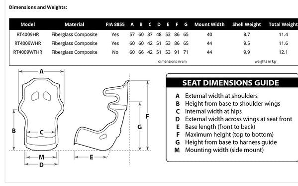 RaceTech RT4009HR Racing Seat