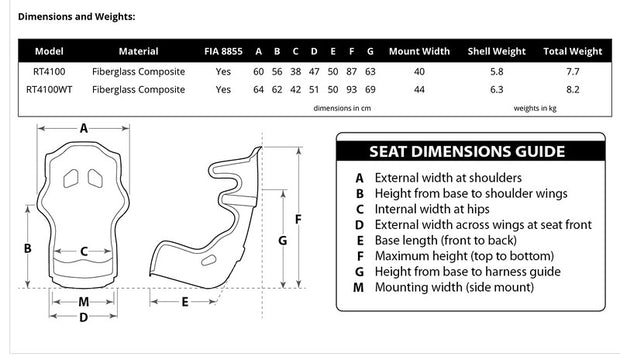 RaceTech RT4100 Race Seat