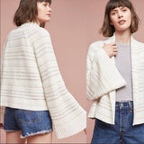 Anthropologie Moth white striped cardigan sweater