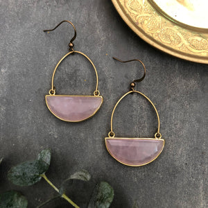 Clarion Earrings - Gold Plated Rose Quartz