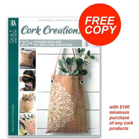 free copy of cork creations book with $100 minimum purchase of cork products