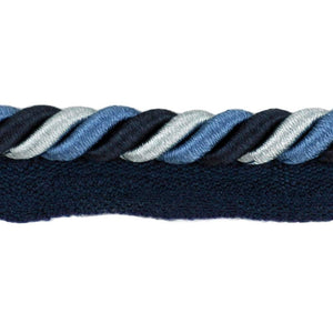"Elegance Collection 3/8"" Cord with Lip - Navy and Light Blue"