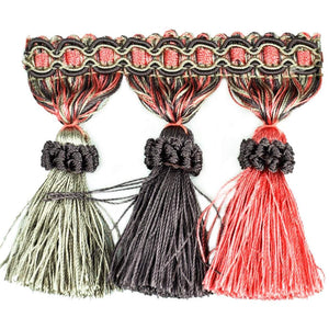 "Elegance Collection 3"" Tassel Fringe - Fuschia and Silver"