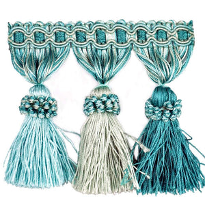 "Elegance Collection 3"" Tassel Fringe - Turquoise and Mint"