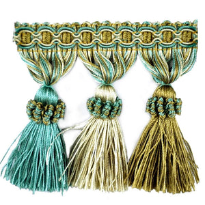 "Elegance Collection 3"" Tassel Fringe - Turquoise and Sable"
