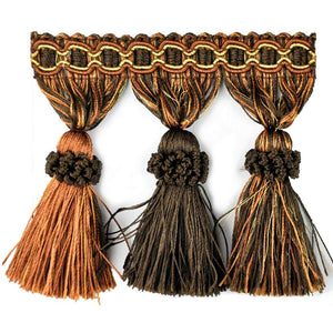 "Elegance Collection 3"" Tassel Fringe - Rust and Brown"