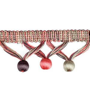 "Elegance Collection 1 3/4"" Ball Fringe - Fuschia and Silver"