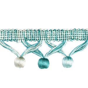 "Elegance Collection 1 3/4"" Ball Fringe - Turquoise and Mint"