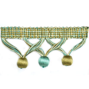 "Elegance Collection 1 3/4"" Ball Fringe - Turquoise and Sable"
