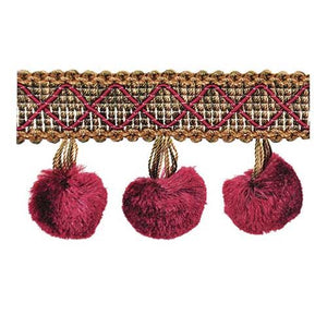 "Mulberry-2"" length-SILK POM POM FRINGE-BF-4006-70-38"