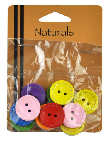 Painted Wooden Buttons - 12 Buttons Per Packet -BBA-4