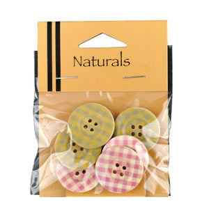 Painted Gingham Buttons - 6 Buttons Per Packet -BBA--52