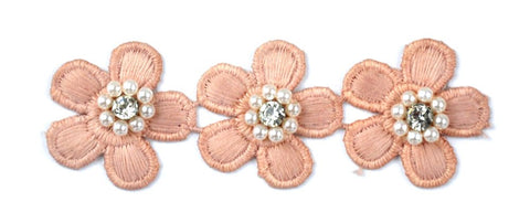 "Flower Trim with Pearl Rhinestone - 1 1/2"" wide - BFT-1200-20"