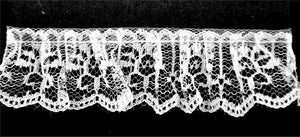 "White Gathered Lace- 1 1/4"" width- BL-8013"