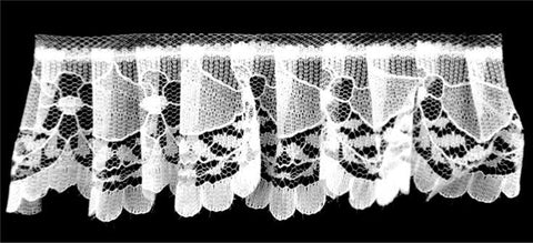 "50 YD - White Gathered Lace- 1 1/2"" width- BL-8017"