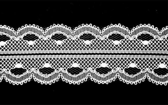White Flat Lace Trim -1 3/4