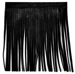 "Faux Leather Fringe 4"" (Black) P-7774-02"