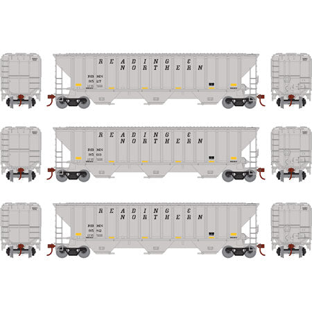 ATHEARN #18774 - HO - PS 4740 Covered Hopper - Reading Blue Mountain & Northern - #RBMN 3-Pack  -  [RESERVE for Delivery in January 2020] - [$0 to Reserve - US$92.98 on Delivery] - [*** 19-030]