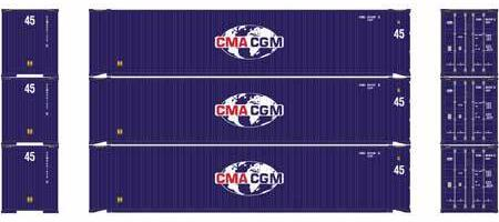 ATHEARN #27035 - HO - 45' Containers - CMA CGM - 3-Pack - [RESERVE for Delivery in January 2020] - [$0 to Reserve - US$31.43 on Delivery] - [*** 19-033]