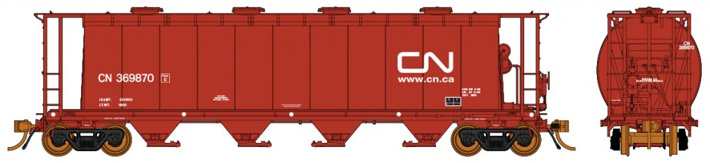 RAPIDO TRAINS #127004-2 - HO - 3800cf Cylindrical Hopper - Canadian National #CNR 369924 - [IN STOCK]