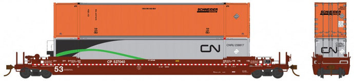 RAPIDO TRAINS #401003 - 53' Husky-Stack Well Car & 2 53' HC Containers - Canadian Pacific #527203 - [RESERVE for Delivery in May 2019 - [$0 to Reserve - $50.95 on Delivery] - [*** 19-038]