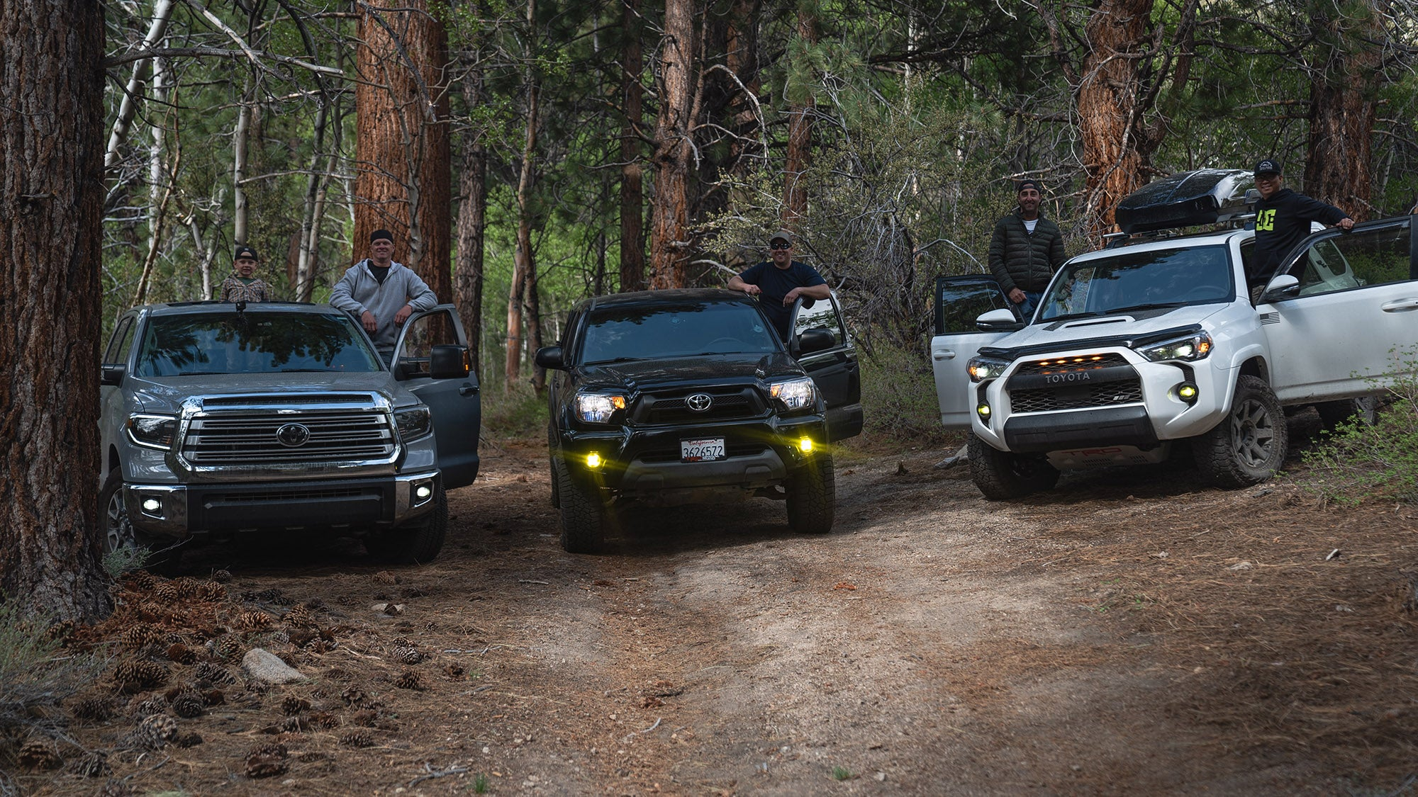 3 Toyota trucks ready to off road