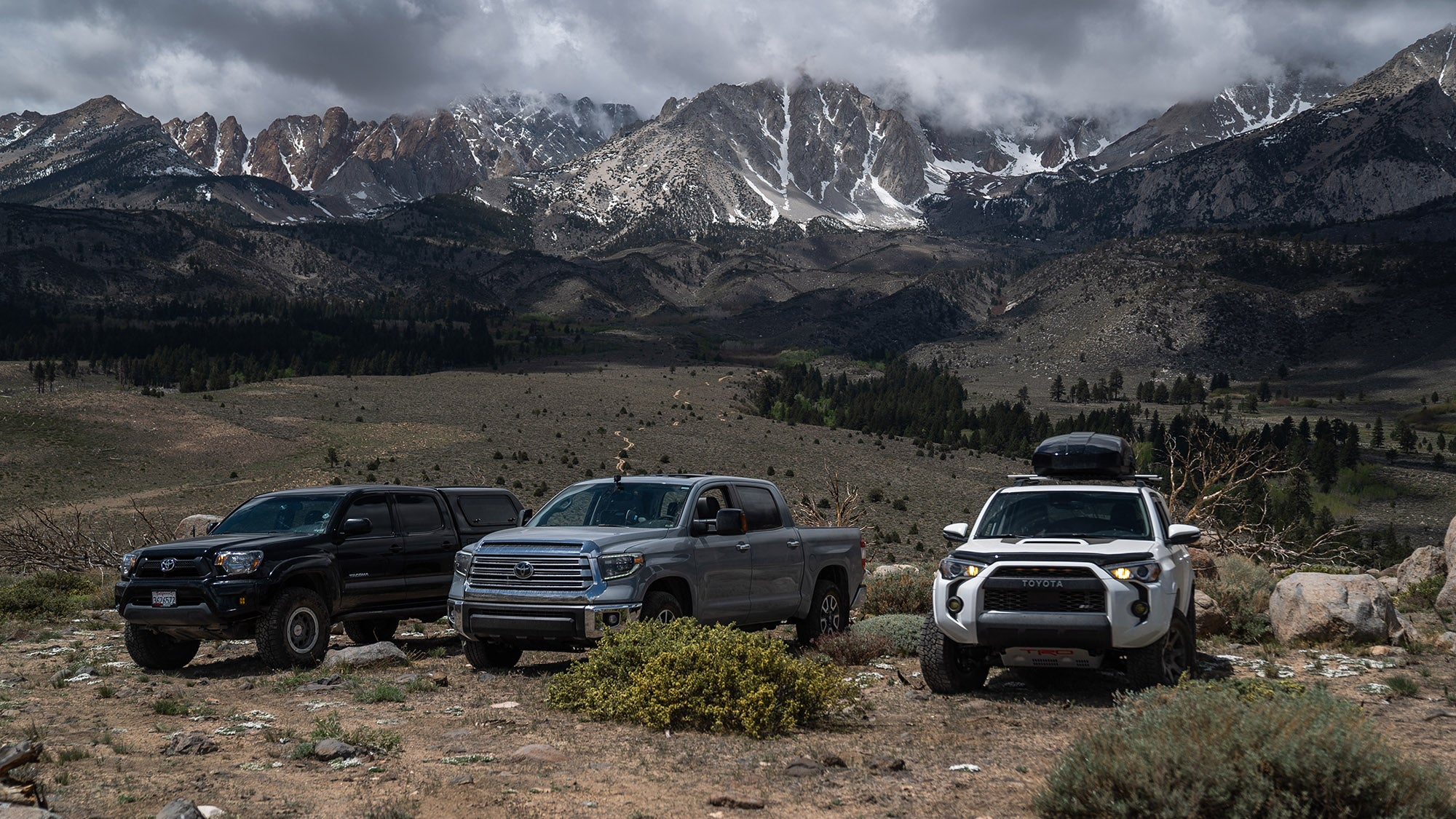 3 Toyota's on top of Green Mountain